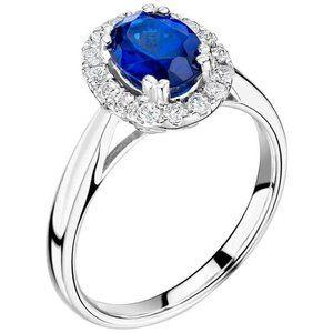Ceylon sapphire with diamonds ring 14k 2.65 Carats